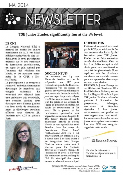 Newsletter TSE Junior Etudes - Mai 2014